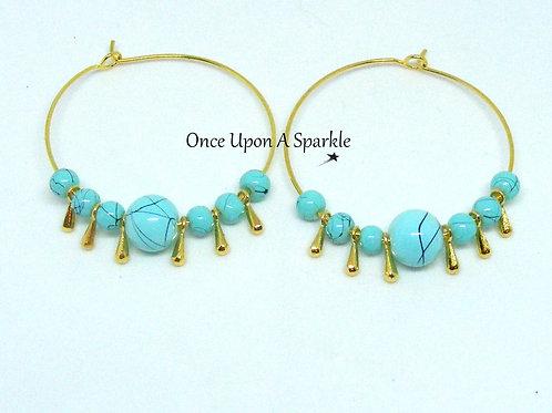 Boho Aqua/Gold Teardrops pair