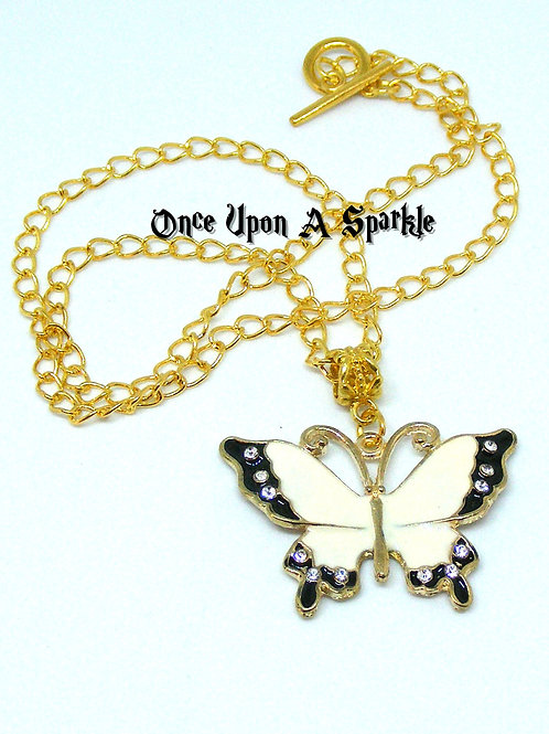 gold toned chain with white & black enamel butterfly with crystals