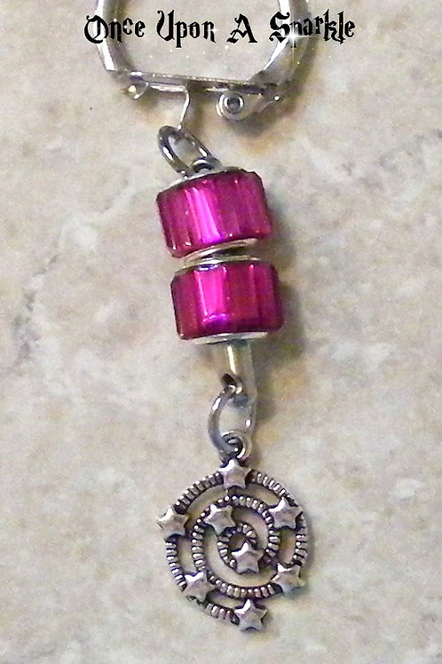 Key Ring - Hot Pink Cord Star Swirl