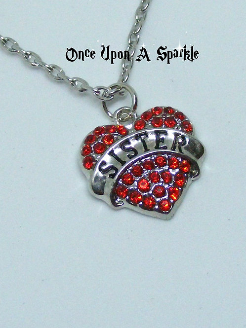 Sister Heart Red Crystals Necklace