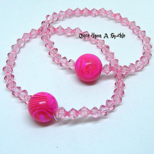 "Pink ""Buddy"" Bracelet Set Hot Pink Wood Grain"