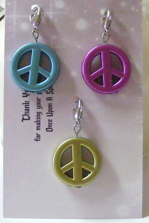 Zipper Pulls - Peace aqua pink green