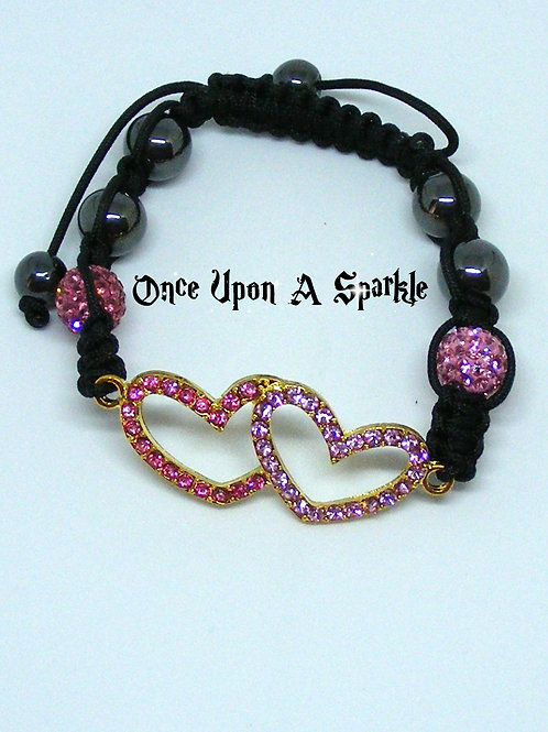 Shamballa Bracelet with Pink Double Heart Connector