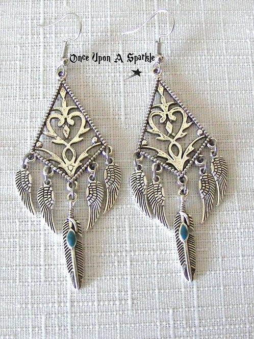 Feather Chandelier 5 Strand Earrings