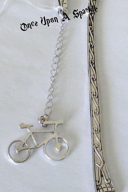 Antique silver bookmark with bicycle
