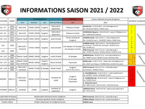 INFORMATIONS SAISON 2021-2022