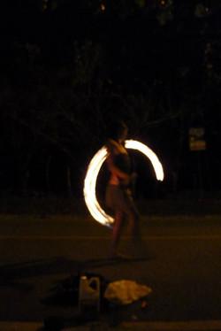 fire dancing in Panama