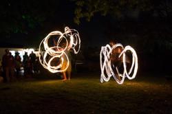 Duo fire dancing