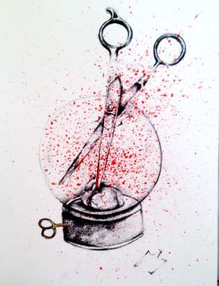 2013 Pencil on paper and red ink