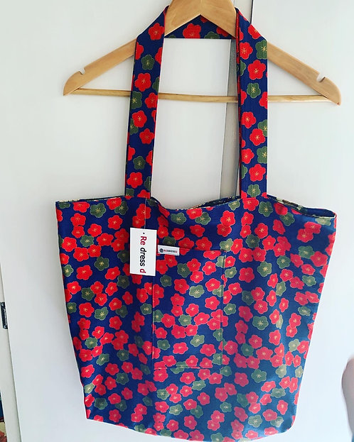 Blue Floral Reversible Japanese Tote