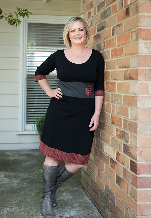 Wine Red Wave Fans Miracle Dress