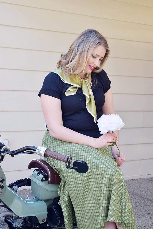 Vintage Green Check Swing Skirt