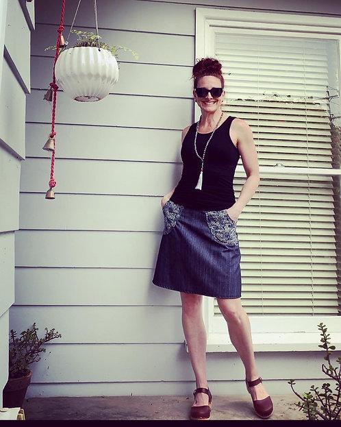 Indigo Maple Leaf Pocket Skirt