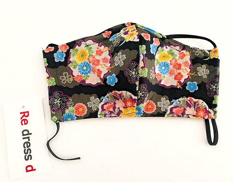 Black Floral Japanese Fabric Face Mask (3 Layer)