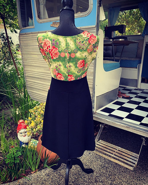 Green Floral Japanese Panel Dress
