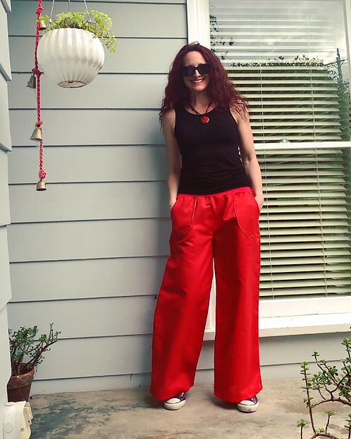 Red Linen Wide leg Pocket Pants