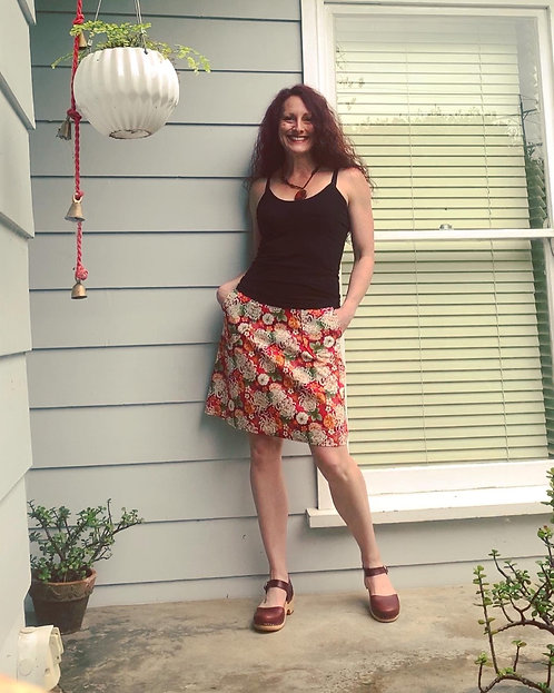 Red Dahlia Japanese Cotton Pocket Skirt