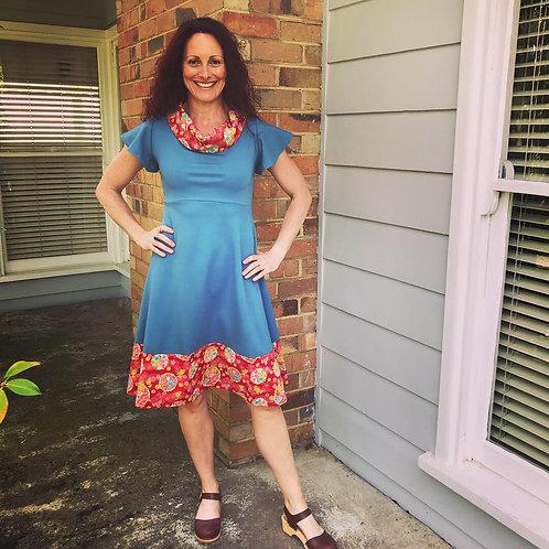 Teal Flutter Ponti Dress