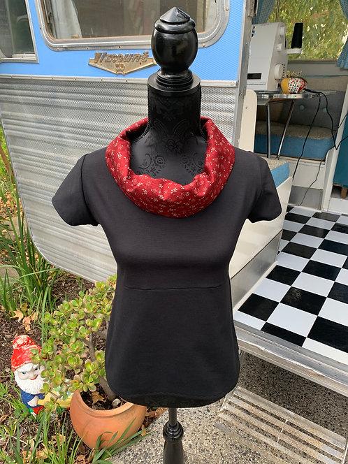 Red Sakura Flower Cowl Top