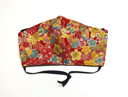 Red Floral Japanese Fabric Face Mask (3 Layer)