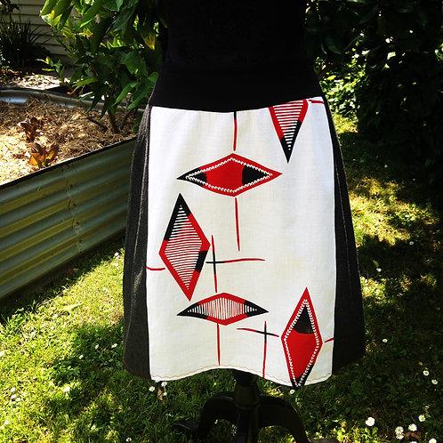Denim & Vintage Yukata Pull on Skirt