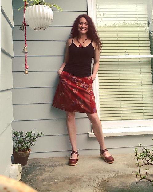 Wine Tamari Ball Japanese Cotton Pocket Skirt