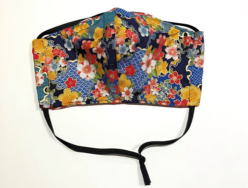Blue Floral Japanese Fabric Face Mask (3 Layer)