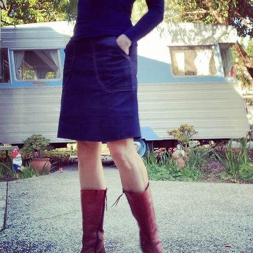 Navy Asanoha Pocket Skirt