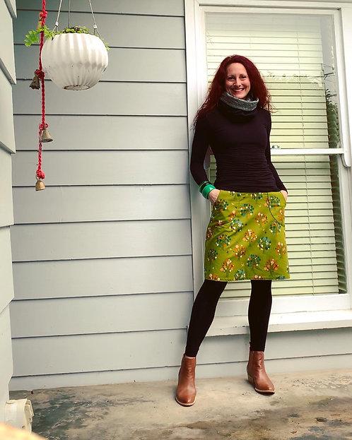 Olive Tree Japanese Linen Skirt