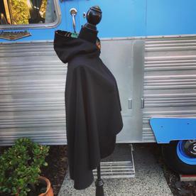 Black Japanese Poncho