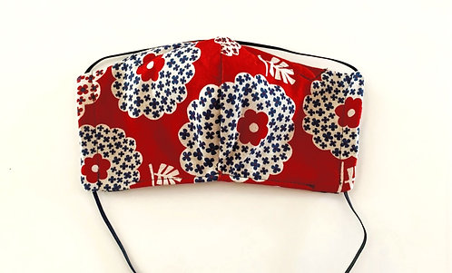 Retro Red Japanese Fabric Face Mask (3 Layer)