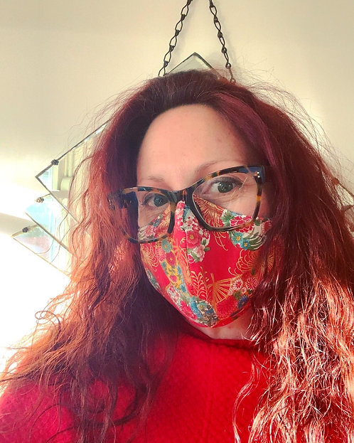Red Fan Japanese Fabric Face Mask (3 Layer)