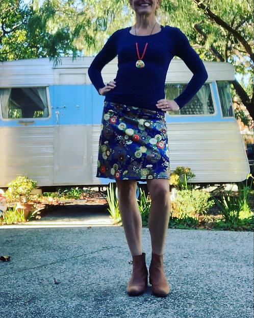 Bright Blue Floral Skirt