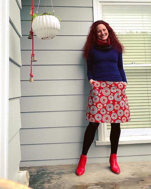 Retro Red Japanese Linen Skirt