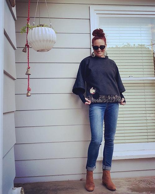 Charcoal Kimono Wool Jumper