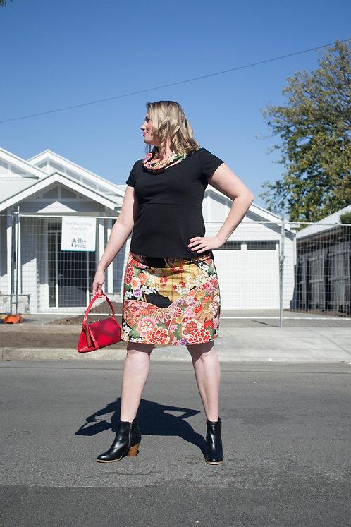 Bright Japanese & Denim Skirt