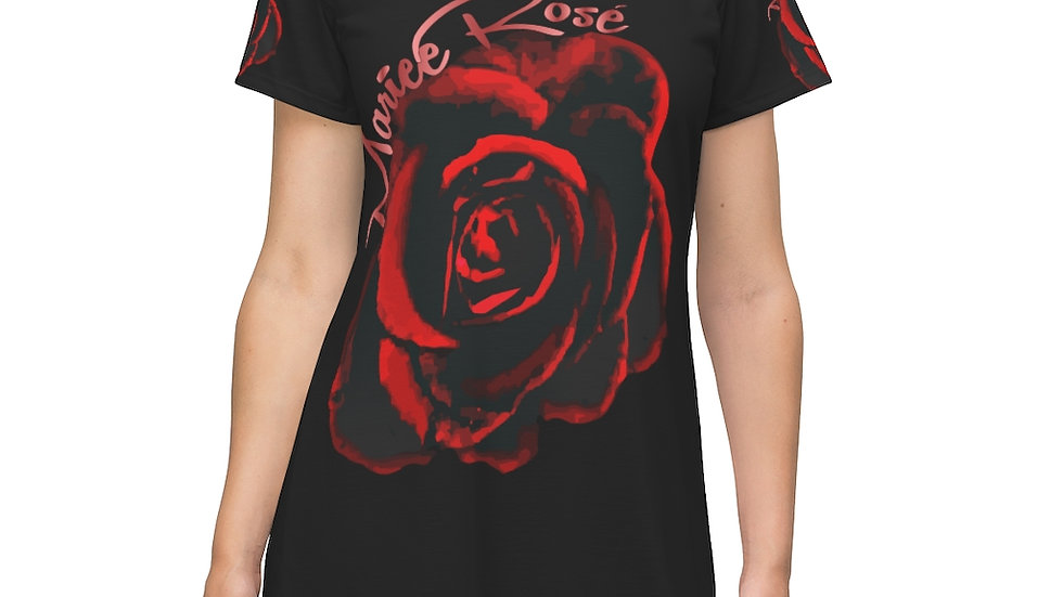 Mariee Rose' Roses- All Over T-Shirt Dress