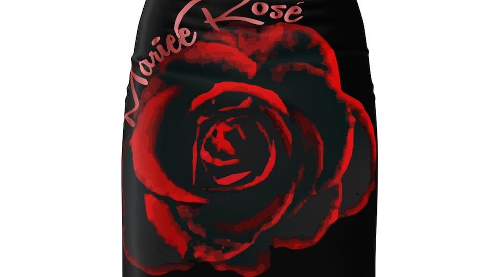 Mariee Rose' Black Women's Pencil Skirt