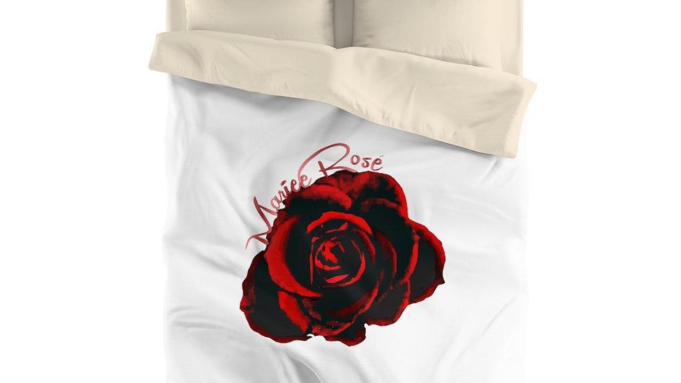 """Marie Rose' - Microfiber Duvet Cover - """"One Single Rose"""""""
