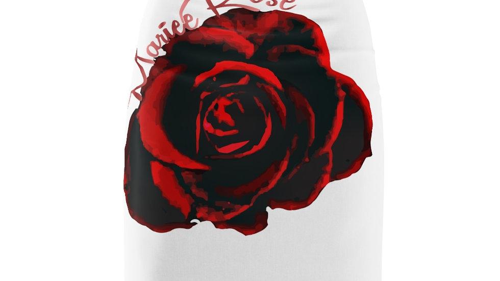 Mariee Rose' White & Rose Women's Pencil Skirt