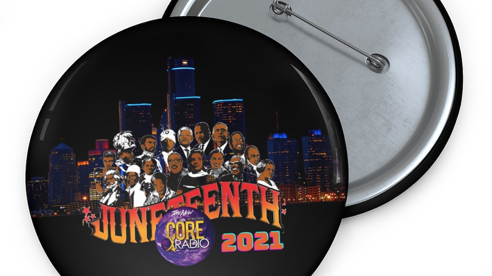 """""""JuneteenthDetroit 2021""""  Black Collectable Pin Buttons"""