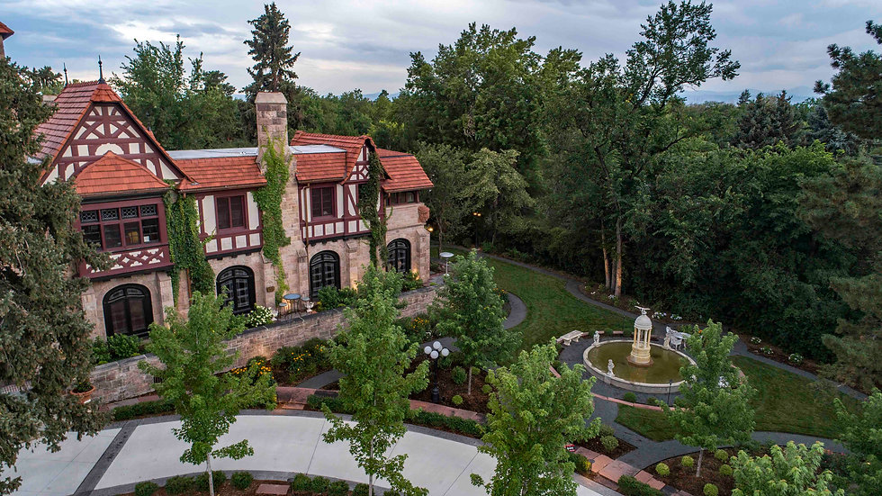 An overhead view of the Richthofen Castle in Denver, Colorado