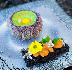 Sea Urchin and Bantam Egg Souffle