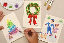 Watercoloring Cards (Winter Wonderland)