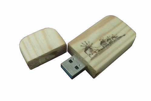 Ξύλινο χειροποίητο USB stick με σχέδιο