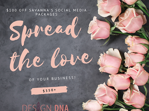$100 off Savanna's Social Media Packages