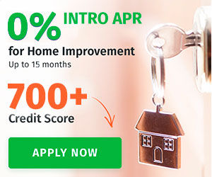 a silver key hanging from adoorknob with a keychain of a house attached. Financing with 0% APR for 15 months is being offered or applicants with a credit score over 700