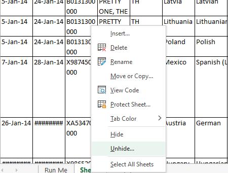 Hide Worksheets
