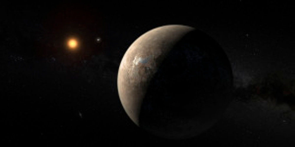 The planet Proxima b orbiting the red dwarf star Proxima Centauri, the closest star to our Solar System, is seen in an undated artist's impression released by the European Southern Observatory August 24, 2016. ESO/M. Kornmesser/Handout via Reuters THIS IMAGE HAS BEEN SUPPLIED BY A THIRD PARTY. IT IS DISTRIBUTED, EXACTLY AS RECEIVED BY REUTERS, AS A SERVICE TO CLIENTS. FOR EDITORIAL USE ONLY. NOT FOR SALE FOR MARKETING OR ADVERTISING CAMPAIGNS