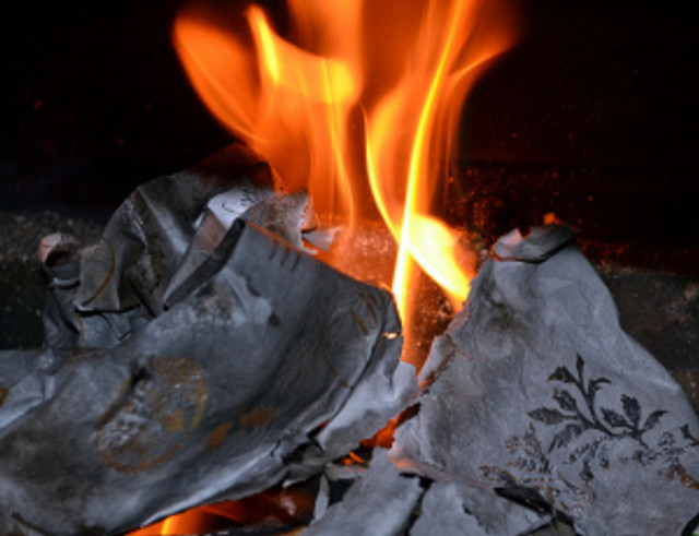 burning wrapping paper